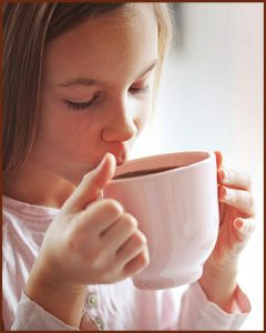 Girl drinking Teeccino